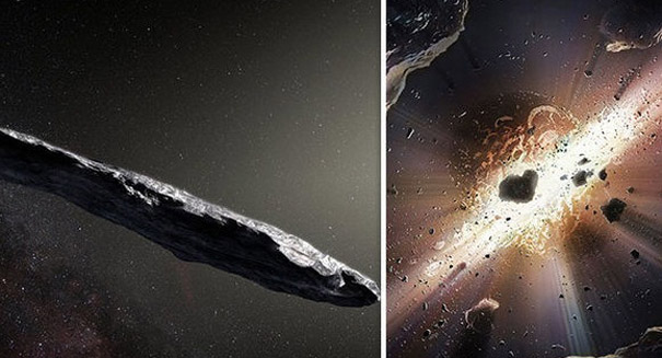 Chaotic spin of interstellar asteroid shows its past was violent