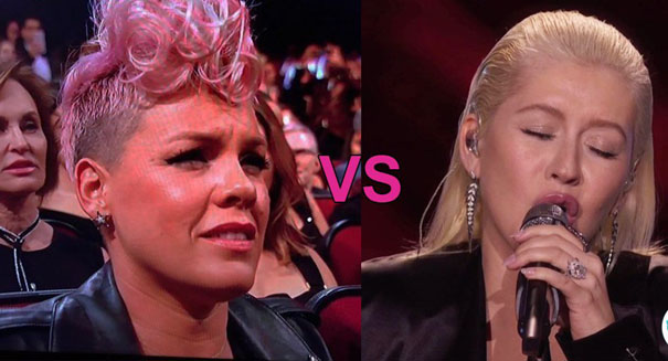 P!nk takes to twitter to show support for Xtina's AMA performance