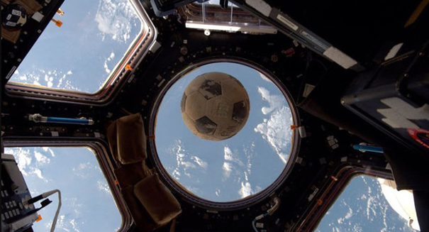 Soccer ball recovered from the ill-fated Challenger Flown in Space